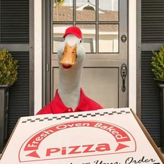 Aflac duck delivering pizza