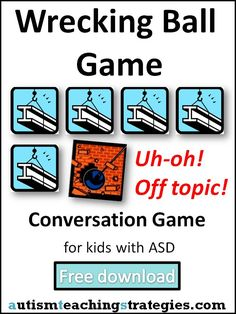"Here is a fun, hands-on conversation game to play with children with Asperger's and other autism spectrum disorders.  You download and print out these pictures, then lay them out in sequence while two kids (or you and the child) are talking.  This visually demonstrates ""on topic"" and provides reinforcement for ""building"" coherent conversations on topics of mutual interest. This was pinned by pinterest.com/joelshaul/ .  Follow all our boards."