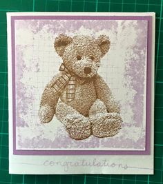 Darkroom Door Hello Baby Teddy Bear stamp with Stampin Up Timeless Treasures stamps used for background
