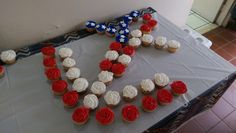 """pics - Mother threw me a Navy enlistment/going away party. This was the """"cake"""". Military Send Off Party Ideas, Military Retirement Parties, Military Party, Navy Military, Military Life, Navy Party Themes, Us Navy Party, Navy Cupcakes, Anchor Cupcakes"""