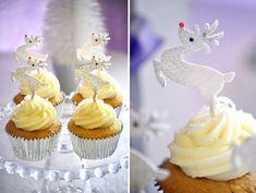Nutcracker Dessert Table: pink glittered-nosed reindeer cupcakes