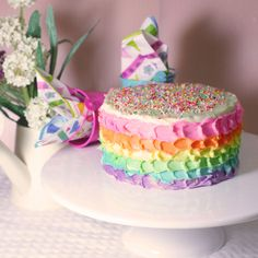 Vanilla Rainbow cake with lemon cream cheese frosting!