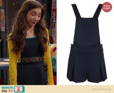 Riley's navy pinafore on Girl Meets World.  Outfit Details: http://wornontv.net/35413/ #GirlMeetsWorld