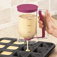Batter Dispenser helps you make perfect pancakes, muffins or cupcakes every time!