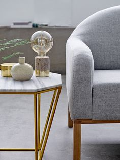 Welcome contemporary and bold design into your interior with distinctive design of the Beige Marble Table Lamp from Bloomingville. This lamp features a coloured marble base with a gold trim and an exposed bulb. Mod Furniture, Green Interior Design, Beige Marble, Diy Inspiration, Style Deco, Gold Table, Decoration Design, Home Living, Nordic Living