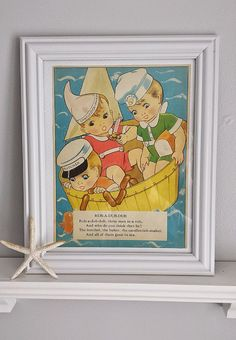 Hey, I found this really awesome Etsy listing at https://www.etsy.com/listing/228405468/large-vintage-framed-nursery-rhyme-rub-a