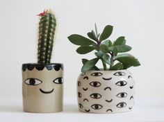 Two faced cache pot  container  ceramic  one of a por KinskaShop, £30.00