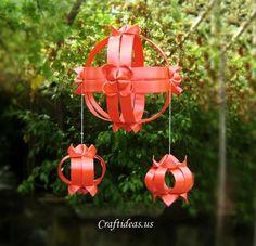 Learn to make beautiful lantern using ribbon
