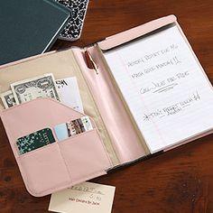 Engraved leather padfolio $50