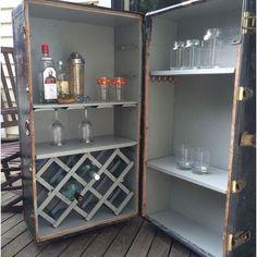 repurposed luggage bar, painted furniture, repurposing upcycling, rustic furniture