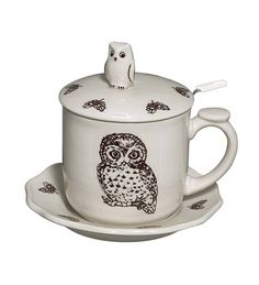Our charming Woodland Owl Bone China Covered Teacup And Saucer features a brown toile owl … Crazy Owl, Owl Kitchen, Horned Owl, Tea Cup Set, Mug Cup, Tea Mugs, Bone China, Dinnerware, Coffee Cups