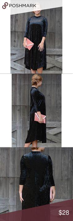 New ❤️ Black Velvet Shift Dress 😍 Black Velvet Shift Dress with 3/4  sleeves & high neck Dresses
