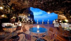ITALY – Hotel Ristorante Grotta Palazzese, Polignano a Mare, Bari, Apulia (Puglia). The hotel's restaurant is located inside a cave. Foto Flash, Hotel Europa, Places To Travel, Places To See, Travel Destinations, Europe Places, Romantic Destinations, Holiday Destinations, Places Around The World