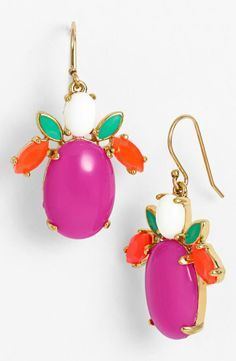 Loving the bright colors on these Kate Spade cluster drop earrings.