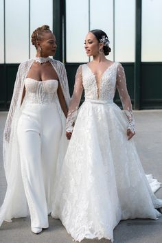 New York Brides wore Lee Grebenau for their same-sex wedding! One of the brides wore our Vera gown with custom long sleeves and the other wore a jumpsuit with beaded cape! Wedding Reception Outfit, Dream Wedding Dresses, Wedding Wear, Wedding Bride, Wedding Pantsuit, Anniversary Dress, Wedding Looks, Beaded Cape, Bridal