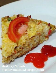 Omelete nasi dengan sayur dan smoked beef berbumbu kari yang simple dan sedap