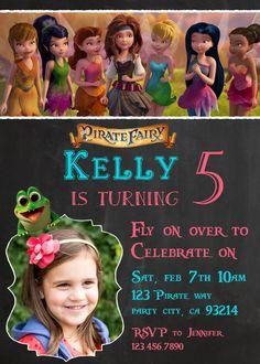 Tinkerbell and the pirate fairy birthday invitation Zarina Disney's tinker bell Disney Princess Invite Chalk Girl Chalkboard Card Printable Fairy Birthday, Pirate Birthday, Pirate Party, 5th Birthday, Winter Birthday Parties, Birthday Party Themes, Birthday Invitations, Birthday Ideas, Pirate Fairy Cake