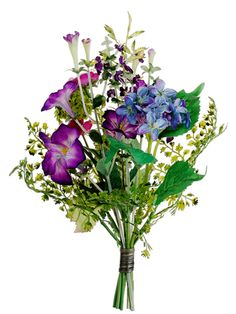 "Hydrangea, Morning Glory, and Ranunculus Bouquet in Blue Purple - 10"" Tall #wedding #diy #ranunculus #afloral"