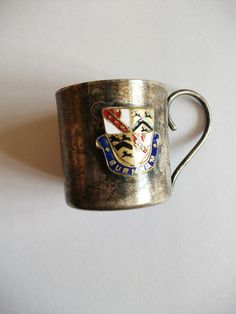 SMALL VINTAGE E P METAL MUG ORNAMENT WITH ENAMEL LOGO BURNHAM
