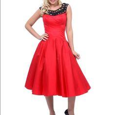 Unique Vintage Red And Black Pinup Dress