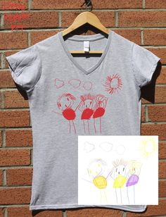 Personalized Cotton T-Shirt - Men's Top Custom Silk Screen Print Your Child's Drawing on Jersey Knit Cotton Top Keepsake Gift for Dad Tiger Face, Silk Screen Printing, People Art, Drawing For Kids, Printed Tees, Little People, Graphic Prints, Gifts For Dad, T Shirts For Women