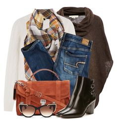 """""""Jeans, Poncho & Plaid Scarf"""" by brendariley-1 ❤ liked on Polyvore featuring Ralph Lauren Black Label, American Eagle Outfitters, Proenza Schouler, Yves Saint Laurent and Thierry Lasry"""