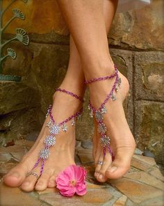 ANGELS BAREFOOT SANDALS pink chain bridal beach wedding dance yoga hippie boho chic beach anklet slave anklet. $54.00, via Etsy.