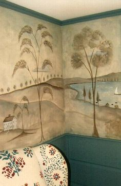 <3 Muralist Susan Dwyer I would love a Rufus Porter mural in the old house