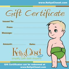Cloth diaper gift certificates - good idea for shower