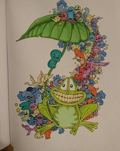 Hand Page From Kerby Rosanes Doodle Invasion Coloured With