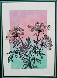 Palette Hybrid ink on gloss card. Stamped with black India ink (Stampendous Queen Annes Lace stamp). Leaves coloured with metallic gel pen. Stampeendous' Pixie Dust Spoonfuls added to flower heads. Julie Makela.