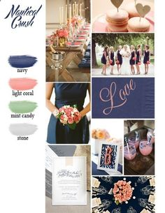 Navy and Coral Wedding Color scheme, perfect for summer! #welcometogirlworld  B: Wedding Color Schemes for L.