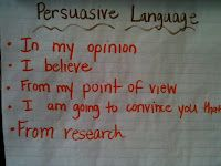 Persuasive writing idea (language plus transitional words)