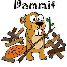 Cool Funny Funky Beaver and Dam Cartoon