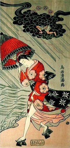 雷雨のなかを足駄で走る若い女性(鳥居清満 画) | 江戸ガイド