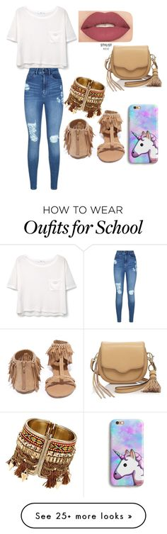"""casual school day"" by t6019090016 on Polyvore featuring Qupid, MANGO, Lipsy, Smashbox and Rebecca Minkoff"