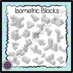 Isometric blocks for math - color & black line from Graphics Resource Force on TeachersNotebook.com -  (50 pages)  - This is a set of clip art of isometric / 3D Orthographic blocks of varying complexities. They come in both black line and grey shading which show the blocks even more clearly.