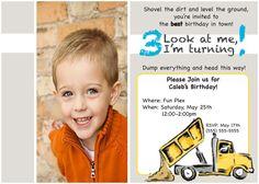 30  Little boy dump truck birthday party invitation by WordsToArt, $25.00