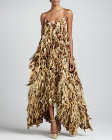 Leopard-Print Chiffon Feathered Gown
