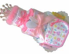 Girl Diaper Cakes Girl Diaper Cake Pink by DiaperCakesbyRuby