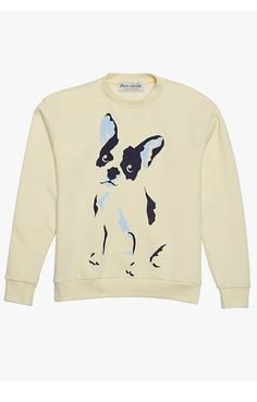 """It doesn't get cuter than this sweatshirt featuring an adorable bulldog on the front and """"Presque Parisienne"""" stamped on the back."""