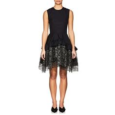 Jourden Women's Lace-Trimmed Cotton Minidress (€580) ❤ liked on Polyvore featuring dresses, black, fit and flare mini dress, short dresses, floral mini dress, fit flare dress and ruffle dress