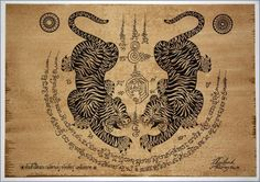 Thai traditional art of Talisman Tiger Leap (Tiger pairs) by silkscreen printing on sepia paper
