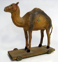 1920's German camel pull toy,  5 1/2''h x 5 1/4''l x 2''d.