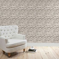A wide range of Wallpaper available to buy today at Dunelm, the UK's largest homewares and soft furnishings store. Order now for a fast home delivery or reserve in store. Room Design, Traditional Decor, Brick Wallpaper, Green Rooms, Grey Wallpaper, Wallpaper, Home Decor, House Interior, Brick