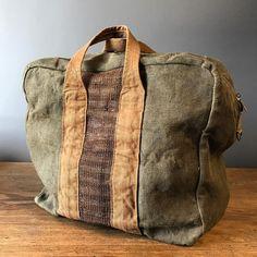 New bag style for fall...petite aviator--all vintage materials. #jaugurdesign #jaugurbag #aviatorduffel #getawaybag #vintagecanvas #idealtravelcompanion #handcrafted #madeinusa