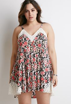 Lace-Trimmed Floral Cami Dress | Forever 21 PLUS - 2000077073