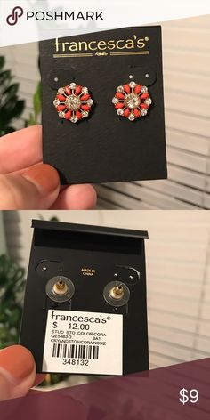 Redish/pink earrings with rhinestones Brand new from Francesca's! Still in packaging. Very cute earrings just not my type! Francesca's Collections Jewelry Earrings