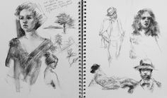 Saturday Night Scribbles - original charcoal sketches
