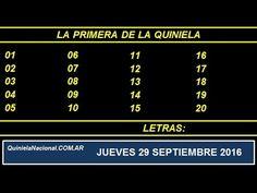 Video Quiniela Nacional La Primera Jueves 29 de Septiembre de 2016 Pizarra del sorteo desde el recinto de Loteria Nacional a las 11:30
